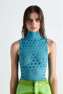 YS120 PERFORATED SLEEVELESS TURTLENECK