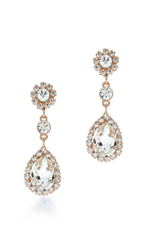 12550 Rose Gold Crystal Pear Shape Earrings