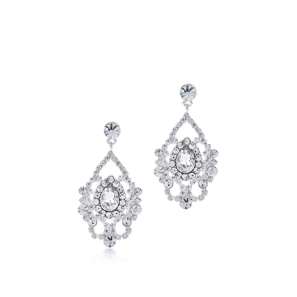 12556 Silver Rhinestone Marquise Cut 1.5in Earrings