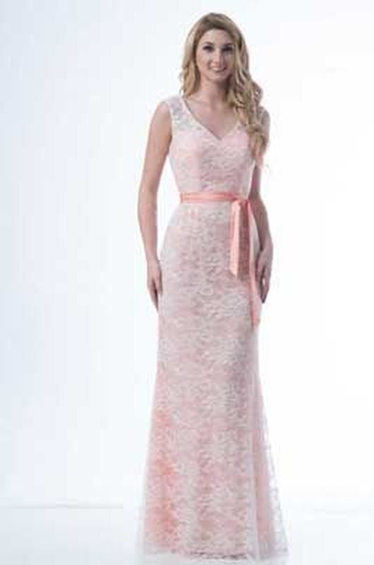 Kanali K Size 14 1714 Ivory/Salmon Bridesmaid Dress
