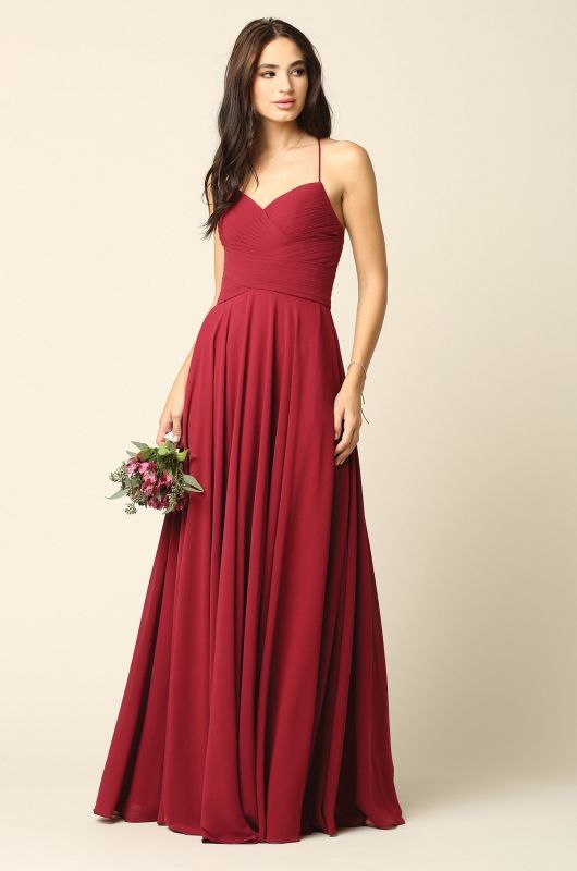 Eva Size 2XL 5219 Burgundy Bridesmaid Dress
