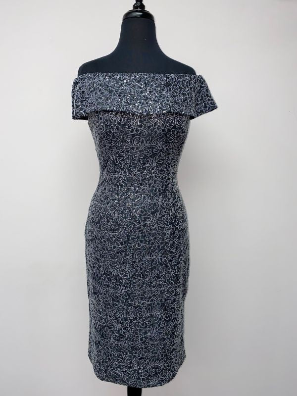 Alex Evenings Size 4 811221641 Gunmetal Mother of Bride Dress