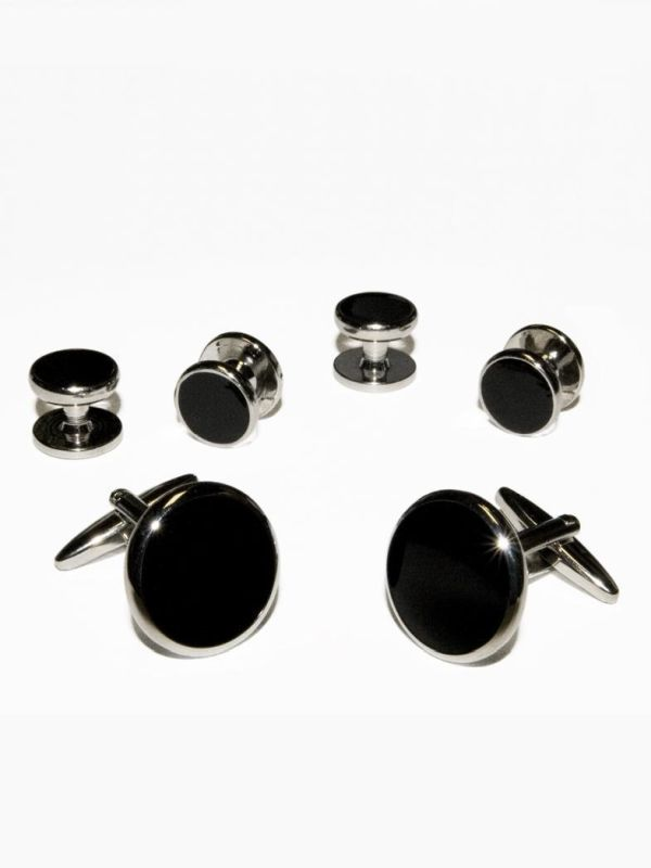Black/Silver Round Cuff Links