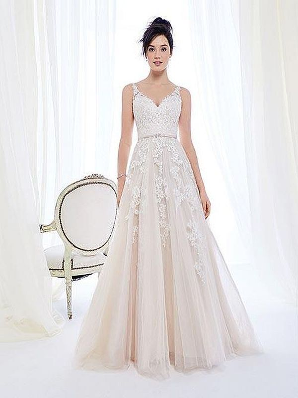 Ella Rosa Size 12 BE395 Champagne/Ivory Gown