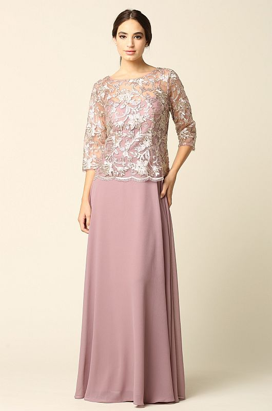Eva Size 2X 3377 Mauve Mother of Bride Dress