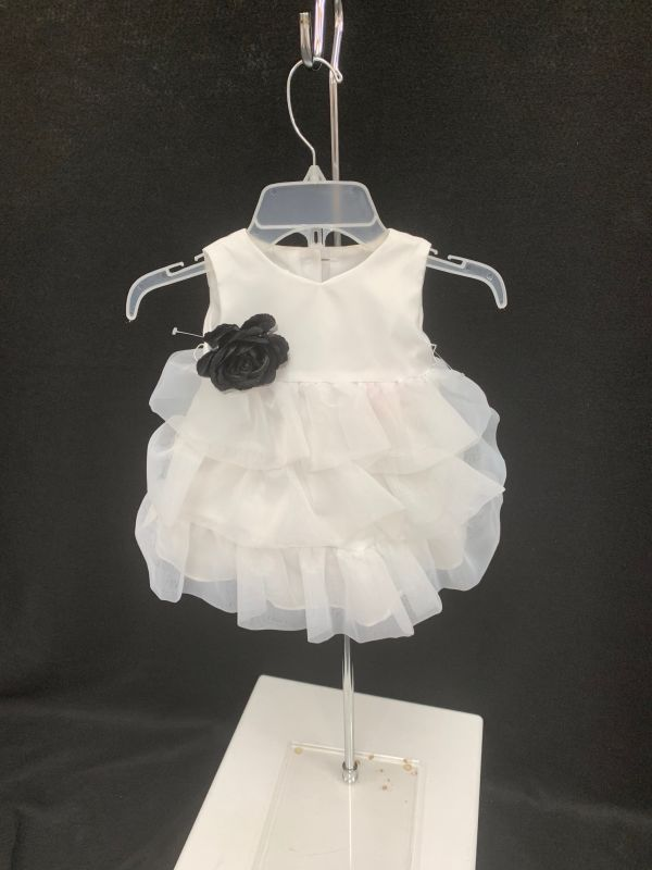 Lidia Size 9 months 129 White/Black Flower Girl Dress