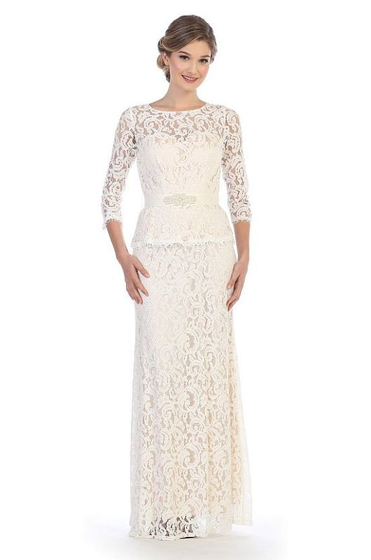 Size L Eva 3169 Off White Mother of Bride Dress