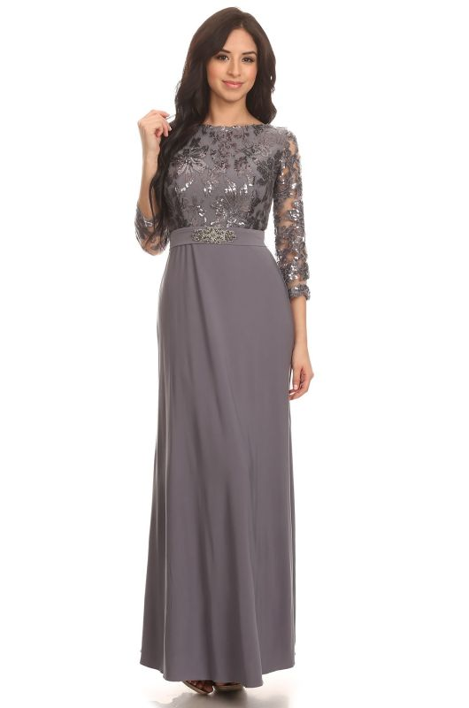 Eva Size XL 3163 Charcoal Mother of Bride Dress