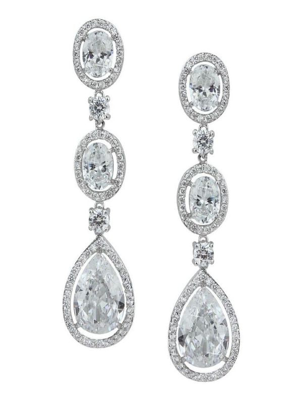 E-Corvus Silver Crystal Round/Pear 2 in Earrings