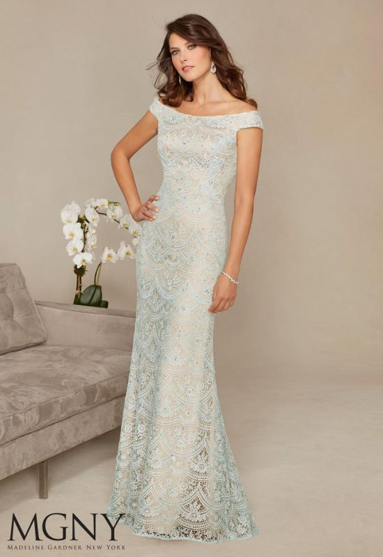 Mori Lee Size 6 71301 Aqua/Champagne Mother of Bride Dress