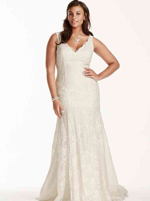 David's Bridal Size 18W 9WG3757 Ivory Gown