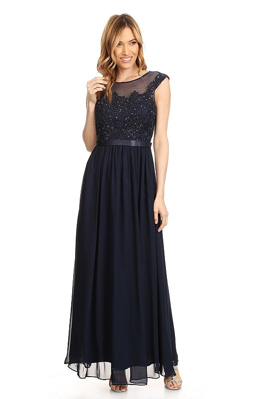 Eva Size L 3205 Navy Mother of Bride Dress