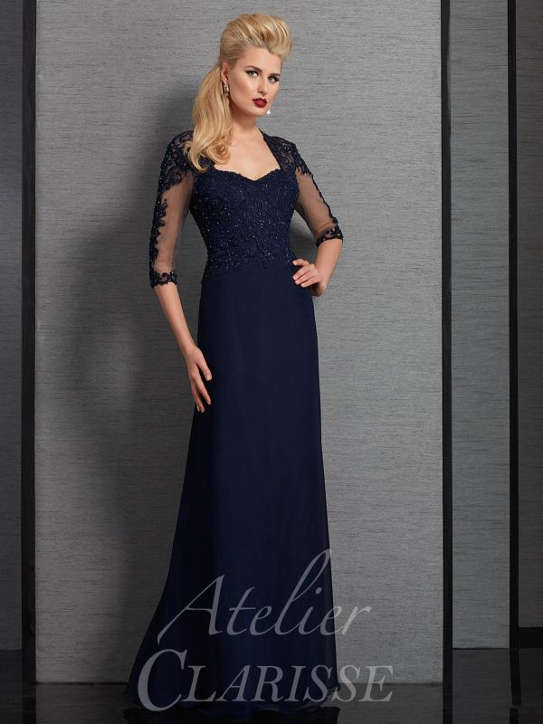 Clarisse Size 8 6328 Navy Mother of Bride Dress