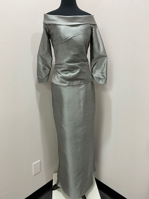 Marisa Baratelli Size 8 Pewter Mother of Bride Dress