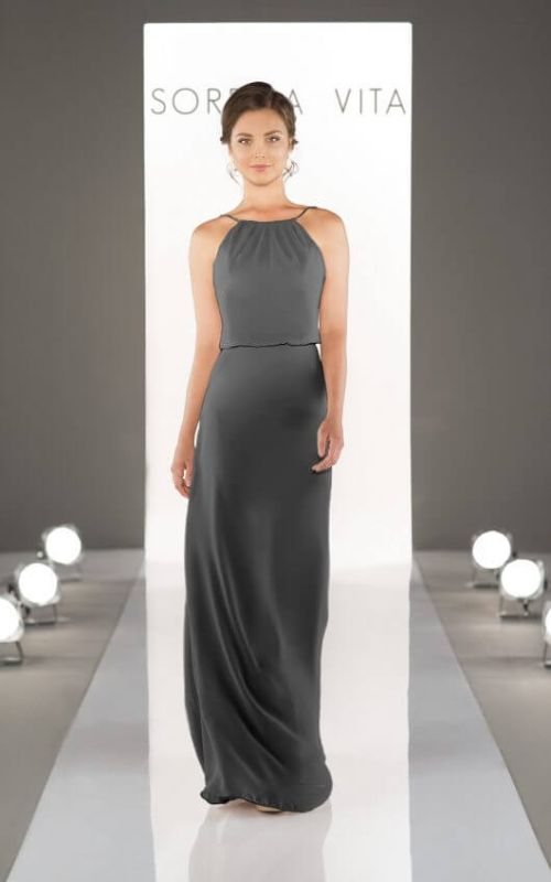 Sorella Vita Size 8 8872 Charcoal Bridesmaid Dress