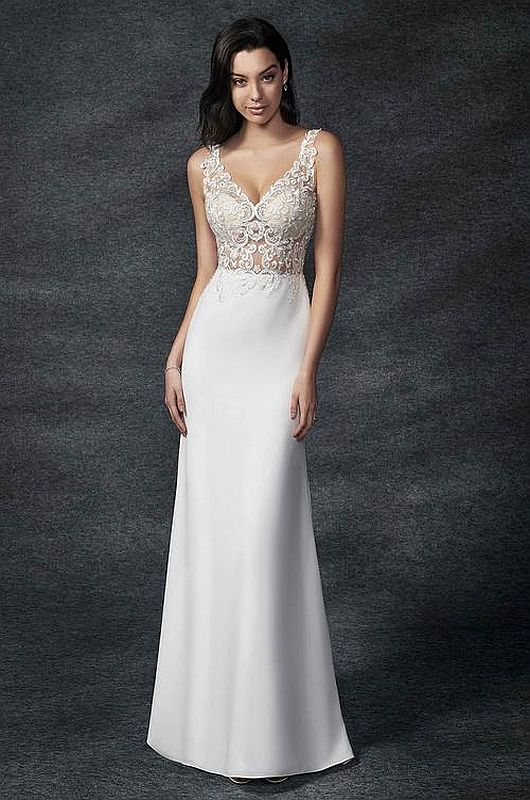 Ella Rosa Size 14 GA2329 Ivory/Nude Gown