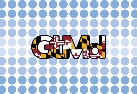GtMd Flag Sticker<br> City of Germantown, Md<br> Md Flag