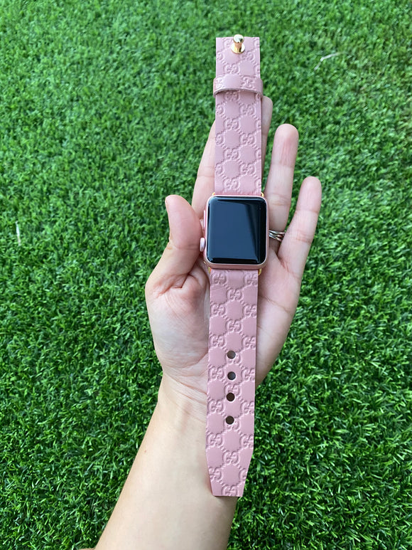 Authentic Repurposed Guccissima Apple Watch Band (pink)