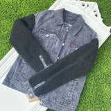 XS-Levi Sherpa Sleeve Denim Fendi Jacket #8.