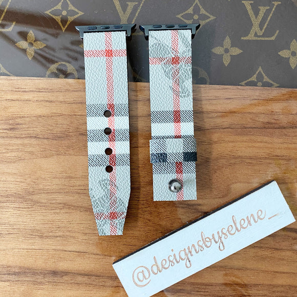 Authentic Repurposed Gray Burberry Nova Check Apple & Samsung Watch Bands