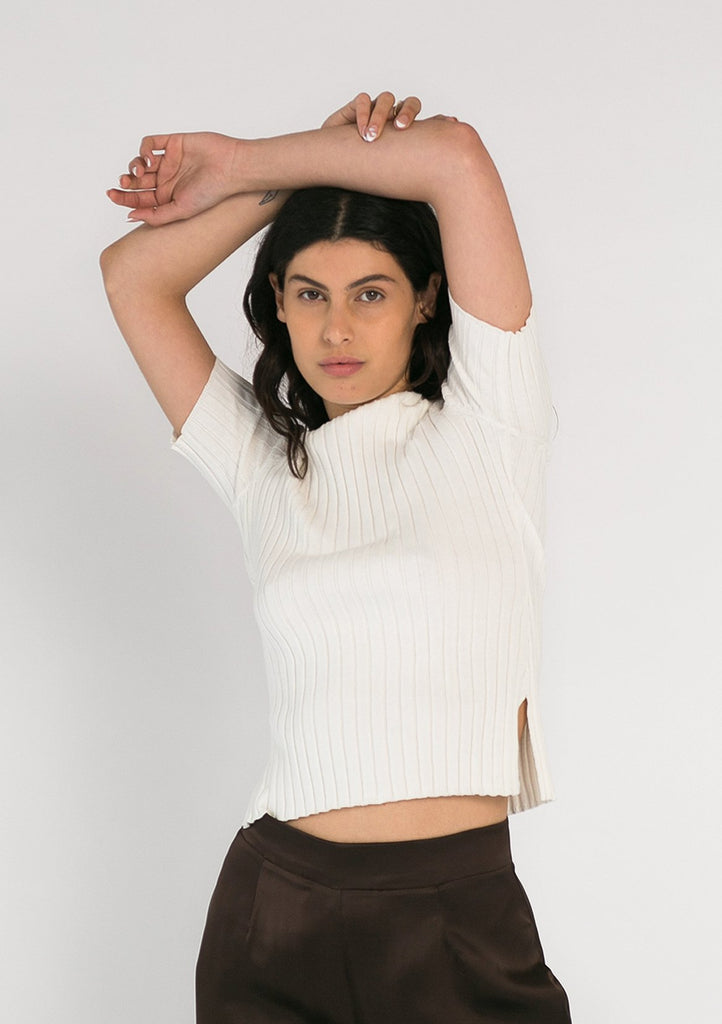 Lulu Ribbed T-Shirt - Cream