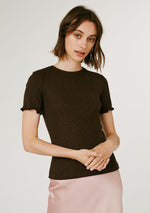 Nancy Ribbed Tee - Chocolate