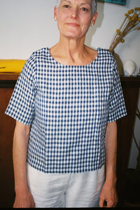 Anna Blouse - Small Navy Check