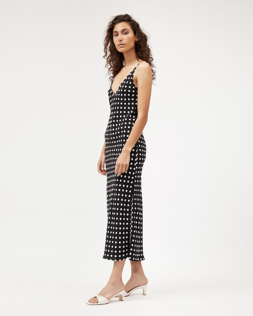 Midi Bias Dress - Polkadot Silk