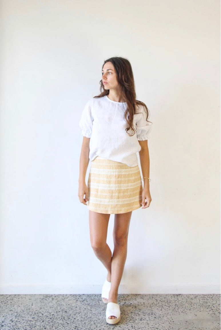 Edie Mini Skirt - Dune Stripe