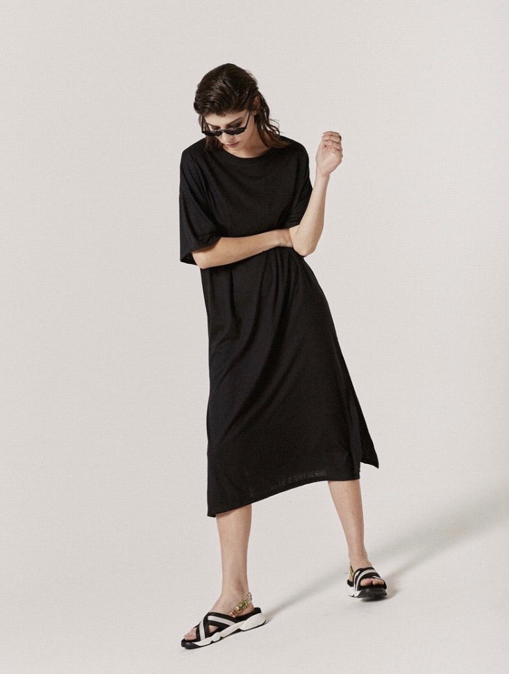 Tee Dress - Black Cotton