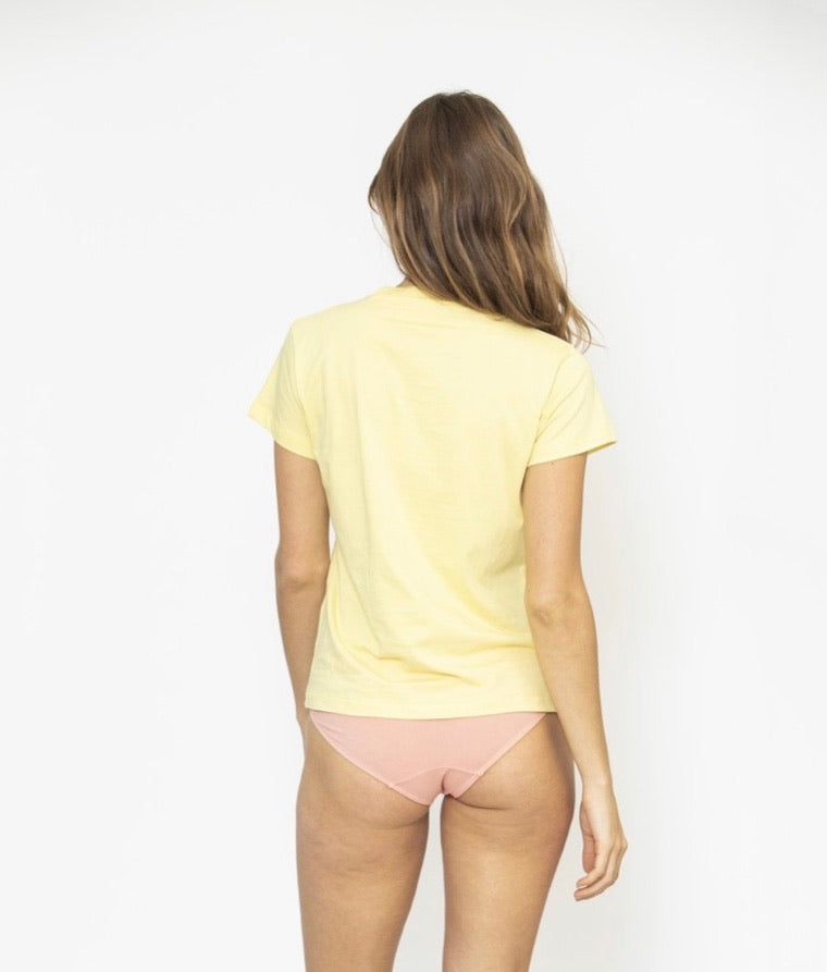 Ribbed Crew Neck Tee - Lemon