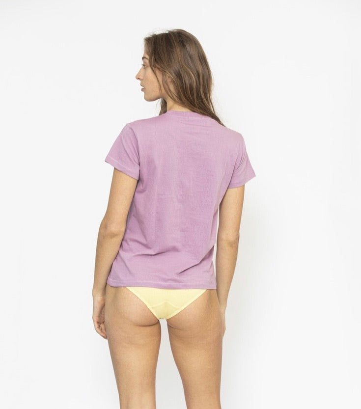 Ribbed Crew Neck Tee - Lilac