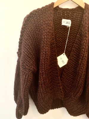 Big Knit Cardi - Marled Brown