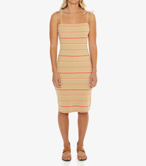 Petra Ribbed Dress - Warm Sand Stripe