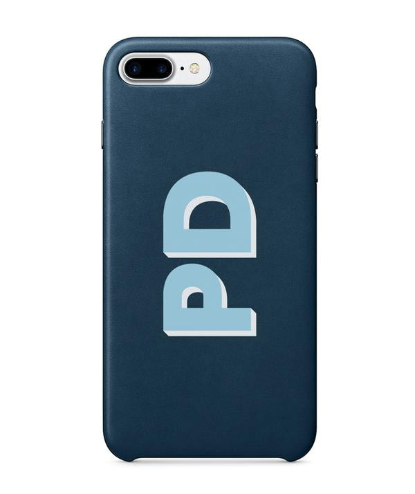 Navy PU Leather Printed Phone Case