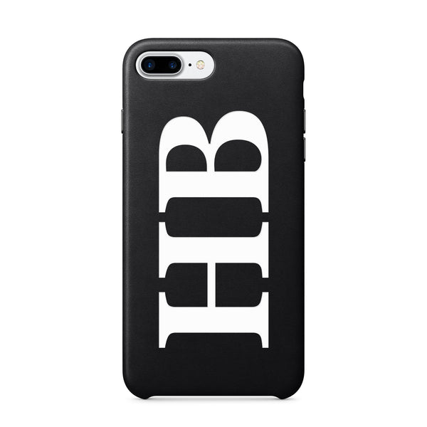 Large Initials Monogram Leather iPhone Case