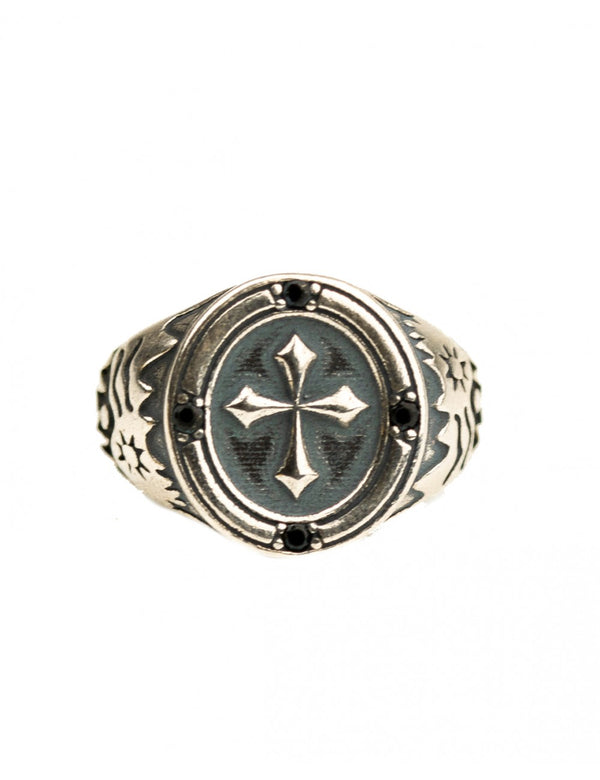 Cross Signet Ring Silver