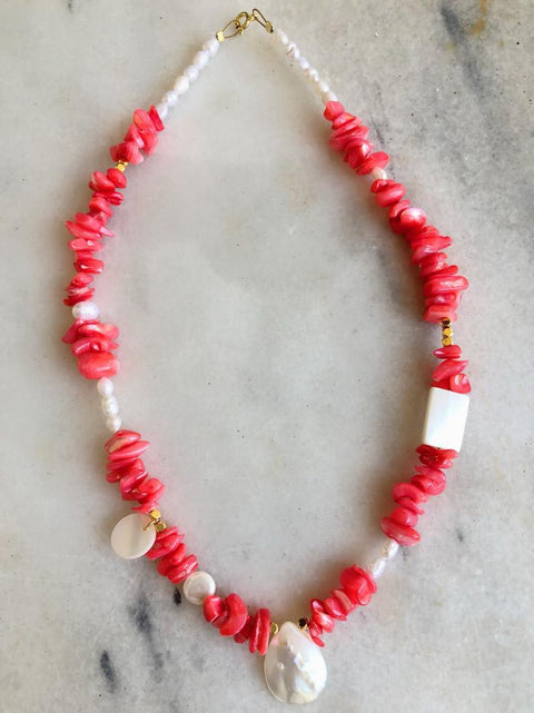 Pearly Coral Necklace