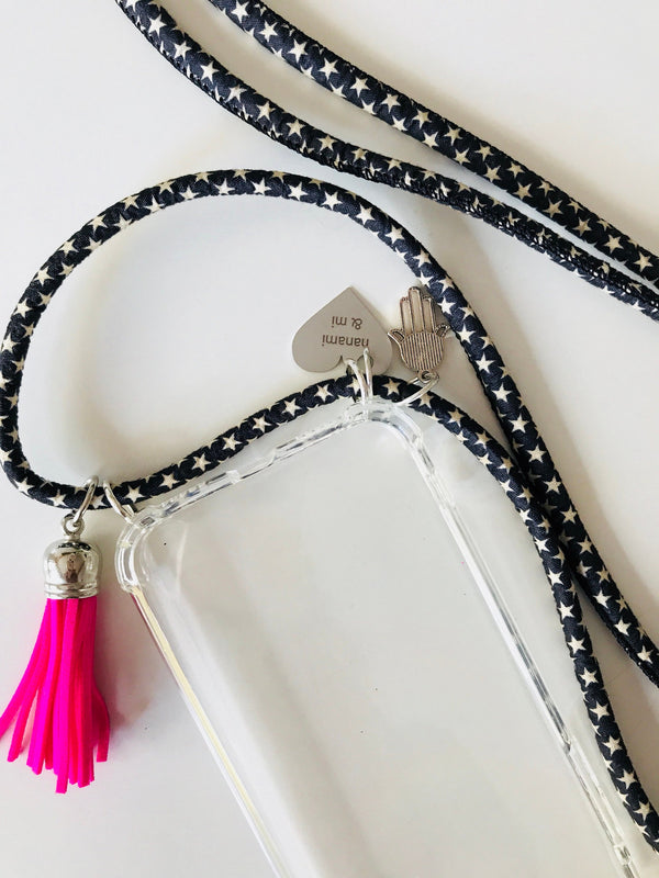Stars and Denim Phone Necklace