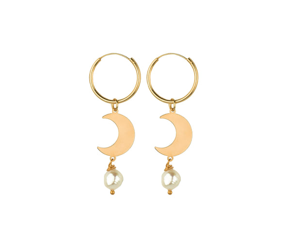 Half Moon Pearl Earrings