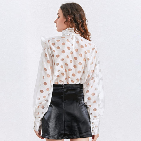 TWOTWINSTYLE Polka Dot Bowknot Shirt Tops Female Long Sleeve Lace up Bowknot Blouse Women Fashion Clothing 2020 Spring New