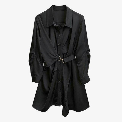 TWOTWINSTYLE Tunic Black Shirt Dress For Women Lapel Long Sleeve High Waist Solid Dresses Female Fashion New Clothing 2020 Fall