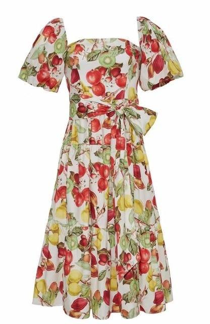 Stella Floral-Fruit Print Off-Shoulder Dress - WeBabe