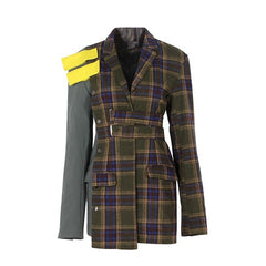 TWOTWINSTYLE Patchwork Plaid Female Jacket for Women's Blazer Coat Long Sleeve Top Autumn Costume Clothes England Style Big Size