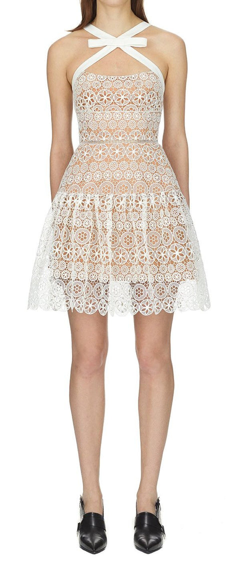 White Lace Embroidery Crochet Floral Dress