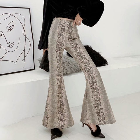 TWOTWINSTYLE Print PU Leather Flare Pants For Women High Waist Large Sizes Women's Trousers Autumn Vintage Fashion 2018 New