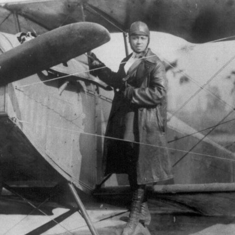 Bessie Coleman In Front of Plane