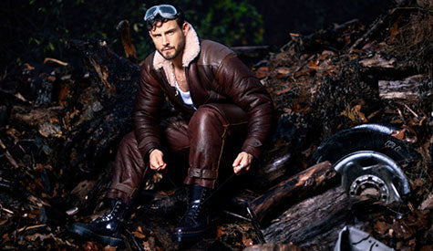 Nico Tortorella wearing Cockpit USA's Sheepskin Flight Suit