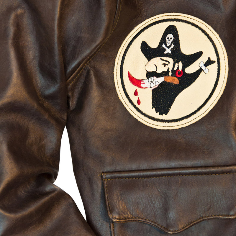 40th Anniversary Bottoms Up A-2 Pinup Jacket patch detail