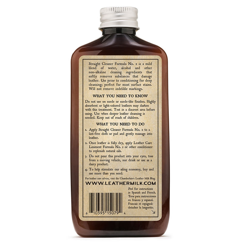 Leather Milk® Straight Cleaner No.2 6oz w pad